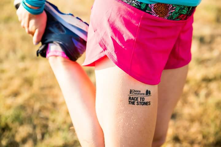 Race to the Stones leg temporary tattoo